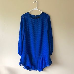 NWT BCBGMAXZARIA Blue Long Sleeve Shift Dress Sz S